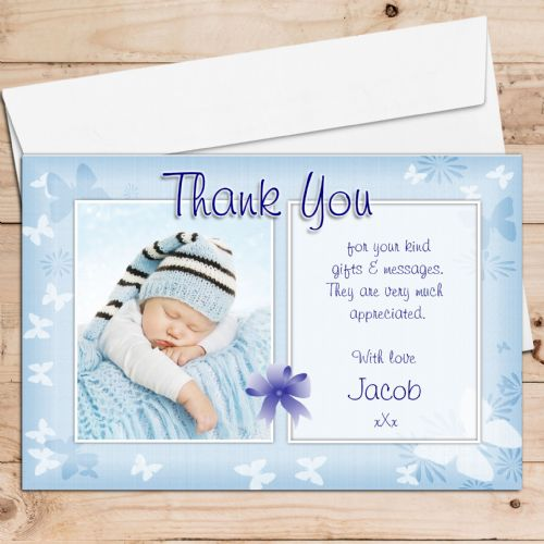 10 Personalised Blue Thank you PHOTO Cards N135 - Birthday, Christening, New Baby etc
